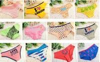 Free Shipping Wholesale 100PCS/lot Sexy Cotton Women Week Panties Lace Briefs Fashion Rainbow 48colors for u choose