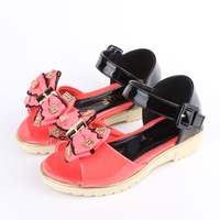 H 2014 new hot bow flower shinning diamand rhinestone shoes girl sandals flower girls shoes sapatos infants free shipping