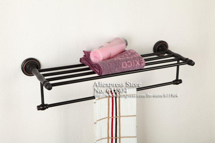 Oil Rubbed Bronze ORB Bathroom Hardware Bath Towel Rack Shelf With Towel Bar 36A0101(China (Mainland))