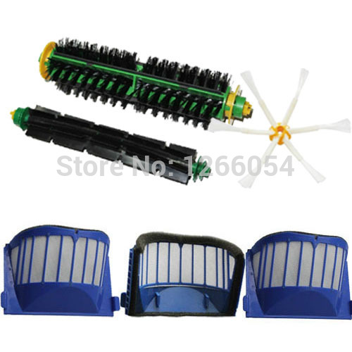 Replenishment Kit Brushes & Filters & Side Brush Pack for iRobot Roomba 500 Series Vacuum Cleaner 6-armed(China (Mainland))
