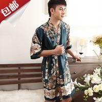 Free shipping Half sleeve male viscose robe silk bathrobes lacing short-sleeve robe bathrobes sleepwear