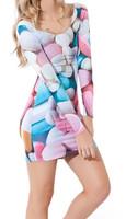 EAST KNITTING fashion Top sale Women digital print Tops Pills Long Sleeve Dress NEW ARRIVAL BL-253