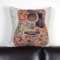 "Cartoon Colorful Guitar Sofa Decor Pillow Case Cushion Cover Square 18"" PCZ263"