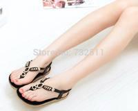 2014 Shoes Woman Sandals Bohemia Style Sandy Beach Beauty Sandals Large Stones Thong Flats Roman Flats Free Shipping