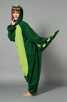 Adult men and women dress green dinosaur Costume
