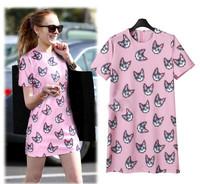women dresses 2014 new fashion summer ladies dresses European-style high-end print explosion models dress Free shipping