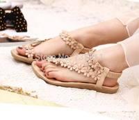 2014 bohemia sandals for women summer shoes women flip beaded flower flip-flop flat sandals 36-39