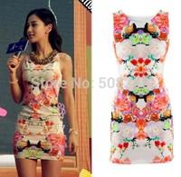 (Factory Price) New Fashion Style Floral Print Pencil Slim Girl's Midi Bodycon Dress Quality Brand Women's Dresses WD84