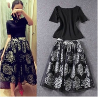 2pcs t-shirt+skirt Women clothing sets 2014 summer Free Shipping Celeb Style Black Lace short Sleeve O-neck Women Dress
