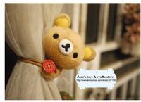 Super cute Soft plush lazy bear Rilakkuma curtains,stuffed birthday&holiday gifts for girls,2pcs/ lot  free shipping wholesale