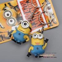 Anime Cartoon Movie Despicable Me 2 Minions 3D Mini Keychains Key Ring PVC Action Figure Toys Dolls 2pcs/set DSFG078