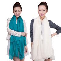 Free Shipping Lady Women Chiffon Solid Silk-like Satin Bandana Scarf Shawl Wrap