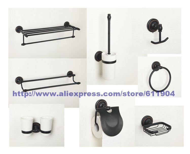 Oil Rubbed Bronze ORB Bathroom Hardware 8 Piece Set Bath Room Acessaries 3HA0101(China (Mainland))