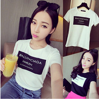 New 2014 Fashion Women Summer Ballinciaga letter print short sleeve tshirt womens tee T-shirt cotton t shirts clothes Sale