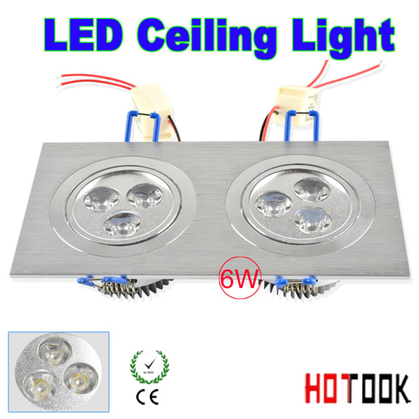 Double LED Ceiling Lights 6w Square decoration ceilings fixture lamp bulb wedding shop lighting products 85~265V CE RoHS x 10pcs(China (Mainland))