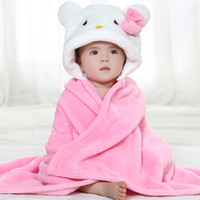 Newborn baby's pink KITTY animal shapes Monolayer flannel blankets cloak bathrobes