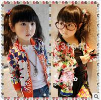 Ophira Fashion 2014 Spring Atacado de Roupas Floral Print Cotton Girl's Jacket Jaquetas Infantis Coats for Children Outerwear