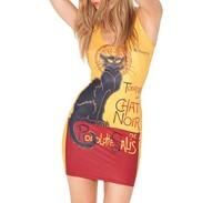 2014 New Fashion European and American New Star digital printing black cat vest sleeveless dress