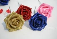 7cm size 72pcs gold dust foam rose powder simulation flowers wedding decor bride bouquet decoration bouquets flowers A28