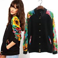 Brand design women autumn casual sports tops single-breasted flower print long sleeve outerwear couples baseball uniform jacket