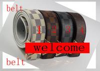 1 pc belt Fashion letters men Smooth buckle joker leisure belt Fashion belt 4 kind colors U choose No.