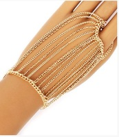 Free Shipping Style HE0025 Women Fashion Gold Plated Muti-layers Chains Bracelet Hand Jewelry 2 colors
