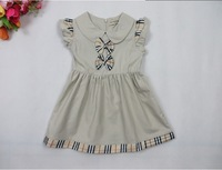 Cute Bow ruffle sleeve Baby girl dresses England brand plaid summer dress baby girls dress little princess