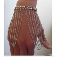 Free Shipping Style HE0026 Women Fashion Silver Plated Muti-layers Chains Bracelet Hand Jewelry 2 colors