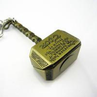 New Marvel Thor 2 Avengers Hammer Mjolnir Pewter Key Chain Ring Pendant