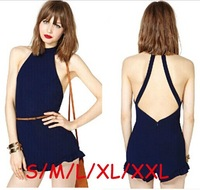 2014 New Fashion Sexy Cross Neck Backless Short Jumpsuits Summer Women Jumpsuits TSP1304