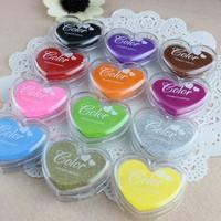Free ship 1lot=20pcs/korean stationery kawaii Colorful love candy color inkpad  school supplies DIY stamp