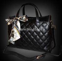 2014 Summer Euro-american Famous Brand Women Leather Handbag 100% Gennuine Leather Women handbag Ladies Tote Shoulder Plaid Bag