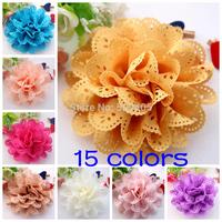 Flowers Eyelet chiffon hole lace flower flat back Silk Rosette flowers for  headband flower DIY Photography props 50PCS