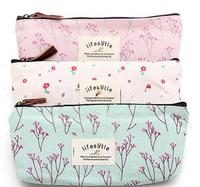 2pcs,Hot Sale New Flower Floral Pencil Pen Canvas Case Cosmetic Makeup Tool Bag Storage Pouch Purse
