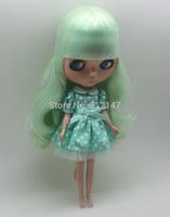 Free shipping Nude fashion dolls(Mint green  hair, tan skin)