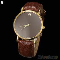 New Fashion Women's Men's Geneva Minimalism leather band Wrist Watch 055F