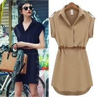 I New spring 2014 casual dresses women summer dress short-sleeved dress shirt big yards loose chiffon dress with belt