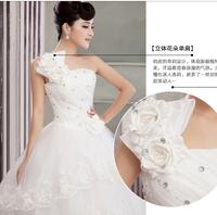 one shoulder flower strap wedding dress 2014 fashion women dress Sweet lace  princess dress rhinestone flower bride  dresses