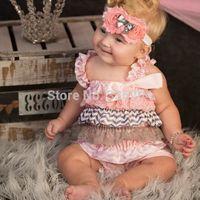 Free Shipping Pink Gray Chevron Romper Shabby Chic Lot Petti Romper Silk Satin Silk Photo Prop Lot Baby Birthday Pictures