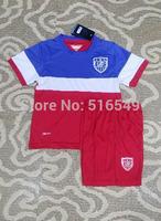 10set/lot EMS/DHL ship 2014 World Cup USA away white Kids Kit USA red   soccer jersey (shirt+short)  for youth kids child