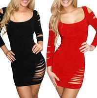 2014 New Arrival Sexy Club Dress Hollow Out Sexy Party Dress Exotic Clubwear Pom Dress Female Vestido Black Red