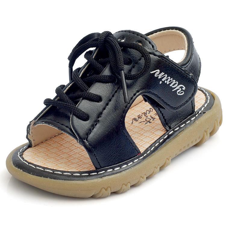 21-25 Taille enfants \ véritables sandales en cuir bébé garçon de 'avec des  rubans été casual chaussures de plage blanc / non-dérapant noir pour garçons  ...