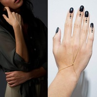 1pc Womens Stylish Simple Bracelet Bangle Slave Chain Link Hand Harness Finger Ring Gold/Silver