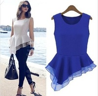 Spring 2014 new lace blouse women chiffon shirt European version of the cool minimalist design wild irregular hem dress