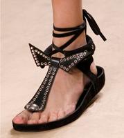 New 2014 women sandal genuine leather flats rivet bandage bow flip-flops plus size shoes
