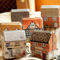 New arriive luck shop mini full colored drawing small house candy box jewelry box storage box free shipping