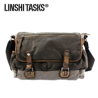 Linshi tasks messenger bag casual bag canvas bag handbag cowhide single shoulder cross-body bag
