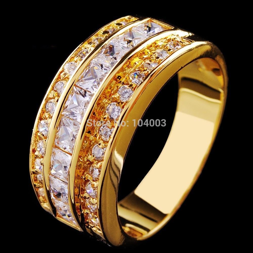 white sapphire yellow gold filled ring men 39 s 10kt finger rings man