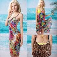 2014 summer women sexy deep V floral print wrap beach dress swimwear, casual knee length halter backless bohemian swimsuit