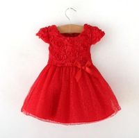 High quality lace roses design baby girls dress red girl party princess dresses 2014 new baby clothing infant summer dress